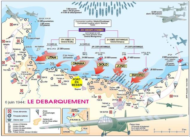 Carte du débarquement - source web AFP infographie Francis Neller