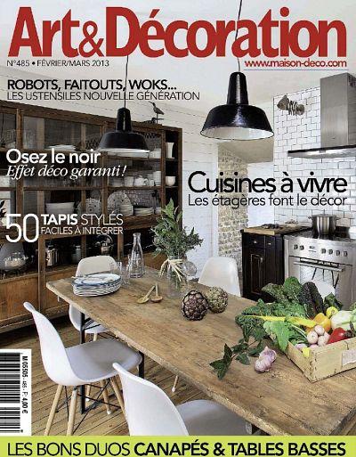 """La cuisine du gîte """" Un Bateau sous mon Transat"""" en couverture du magazine Art & Décoration Fev-Mars 2013, N°485"""