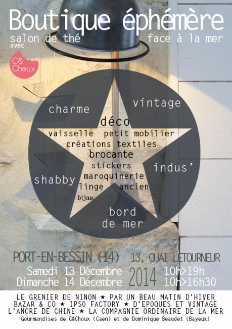 boutique éphémère de décoration à Port-en-Bessin le 13 et 14 décembre 2014